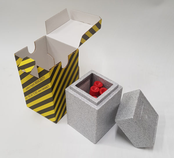 Laatikko kelta-musta Uriboxille, 105 x 105 x 175 mm