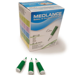 Medlance plus Extra -turvalansetti, 21G 2,4 mm, vihreä
