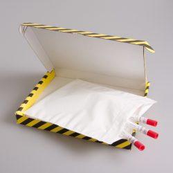 Laatikko kelta-musta 30 putkelle, 255 x 210 x 30 mm